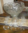 Vintage LE Smith Slewed Horseshoe Glass Punch Bowl, Pedistal, Glass Ladle,8 Cups