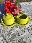 FIESTA  NEW LEMONGRASS lime green 4 Piece Tray Sugar & Cream Set Fiestaware