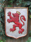 Vintage Red Lion Coat of Arms Carved Wood Wall Plaque Hand Painted Spain 13