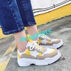 Womens Platform Lace up Running Sneakers Sports Trainers Pumps Shoes Yellow US8