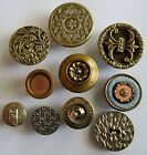 #7E Lot of 10 Back Marked Metal Gothic Hinge w/Bird Heart Motif Borealis Buttons