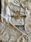 Lot Of 10 Antique Lace Pieces Collar Crochet Belt Curtain Embroidery Germany