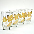Libbey 10 oz Flat Tumbler Beverage Clear Glasses Gold Leaves Set 4 Maple Oak Elm