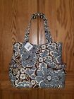 Vera Bradely Slate Blooms Pleated Tote 10812-062 NWT