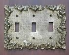 Vintage Ornate Floral Metal Triple Toggle Light Switch Plate Cover