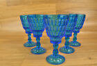 Vintage  Blue Glass Thumbprint Water Goblet Some Cracks Chips Scratches Bubbles