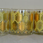 1960's Cera Ned Harris Gold Pineapple Barware, Old Fashioned Glasses Whiskey Set