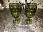 DURATUFF GIBRALTAR OLIVE GREEN GOBLETS / GLASSES ICED TEA WATER VINTAGE SET OF 2
