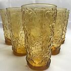 Set of 6 Vintage Anchor Hocking LIDO MILANO Honey Gold Amber Glass Tumbler Cups