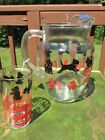 VTG BLACK SCOTTY DOG RED FIRE HYDRANT GLASS ICED TEA LEMONADE PITCHER