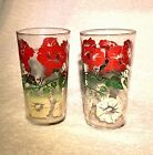 Vintage Glass Tumblers Morning Glory Flowers 1950's (2) RED GREEN WHITE 5 3/4