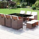 11 pc Dining set patio furniture wicker rattan table and chair set outsidepool