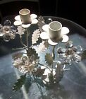 TWO vintage Candlestick Candle Holders  Shabby Chic Candelabra CRYSTAL; FLOWERS