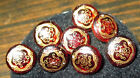 SET 8 GORGEOUS ANTIQUE VICTORIAN RED GLASS BUTTONS w INCISED GOLD FLORAL DESIGN