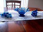 1960's Cobalt Blue CANDY DISH Centerpiece + 2 Large GRAPE CLUSTERS, Blown Glass