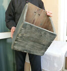 HUGE Antique primitive Wooden Rustic Treen Hanging Wall Box - Old Blue Paint RRR
