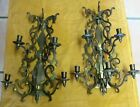 Rare Pair Vintage Brass Wall Sconces 5 Arm Candle Holder  Very Heavy