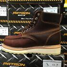 MENS WORK BOOTS MOC TOE GENUINE LEATHER LACE UP OIL BROWN PADDED COLLAR SOFT