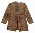 Chicos 1 Beige Black Floral Tapestry Coat Medium 8 Midi Button Front Jacket