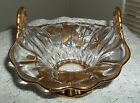 GORGEOUS 1960'S GOLD GILT LEAVES, FLOWERS TRIM ON DOUBLE HANDLED BOWL SPECIAL!!