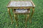 Vtg Stacking Side Tables Hollywood Regency Italian Nesting Florentine Gold Gilt
