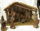 Antique Olive wood Nativity set 6 piece hand carved exc detail with Manger