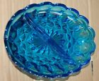Vintage Anchor Hocking Blue Oval Divided Relish Dish Fairfield Serving Kitchen
