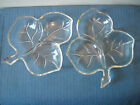 2 Vintage Clear Glass Maple Leaf-Shaped 3-Sectioned Divided Dishes
