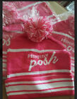Lot of 10 Perfectly Posh Knit Hats Pink & White with Pom Pom Womens Hat New