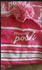 Perfectly Posh Knit Hat Pink & White with Pom Pom Womens Hat New Cap