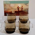 4 Vintage Anchor Hocking Smoked Glass Rocks Tumblers Footed 9 oz 1970s New USA