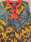 IVY JANE Ladies Blue Leopard Yellow Floral Patchwork Tab Sleeve Tunic Sz XS