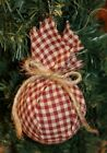 Primitive Rag Ball Christmas Ornaments Bowl Fillers Set of 6 Country Twine