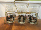 Midcentury Vintage Six Black and White Glasses Tumblers with Carrier