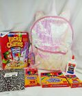 "Unicorn 2-Way Sequins Critter 16"" Backpack Lucky Charms Crayon Elmer glue marker"