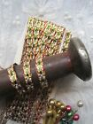 VINTAGE CHRISTMAS CRAFT GOLD, RED AND GREEN METALLIC TRIM  9 1/2 YARDS
