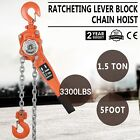 Chain Lever Hoist Come Along Ratchet Lift 1.5 Ton Capacity 0 Ship 51020 Ft