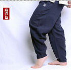Ethnic Vintage Mens Cotton Linen Loose Wide Leg Trousers Harem Long Pants New