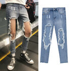 Men Vintage Destroyed Ripped Frayed Distressed Busted Denim Pants Trousers Jeans