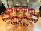 Gold Scroll 8 Roly Poly Tumblers in Carrier