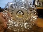 ROUND  CLEAR FLUTED RIM GLASS DISH WITH DIAMOND PATTERN AND FLORAL CENTER