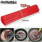 72PCS Motorcycle Dirt Bike Spoke Skins Covers Wrap Wheel Rim Guard Protector Red