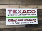 Antique Vintage Old Style Texaco Oil & Greasing Service Station Sign