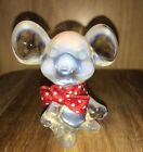 Fenton Art Glass Opalescent Mouse Red Polka Dot bow Glassworker Label