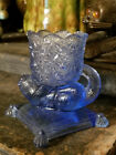 Adorable Cat On A Pillow Toothpick Holder Daisy  Button Pattern Blue Glass
