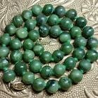 Vintage Chinese Genuine Carved Spinach Jade 9 mm Bead 19