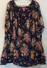 Woman Within 3X Blue Yellow Short Sleeve Floral Blouse Top