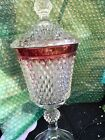 DIAMOND POINT FOOTED URN w LID RUBY BAND Indiana (O)