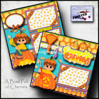 PUMPKIN CARVING halloween 2 premade scrapbook pages paper fall CHERRY 0036