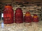 L.E. Smith Red Amberina Moon And Stars Canister Set
